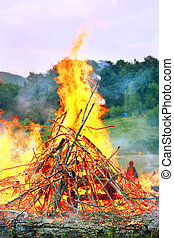Bonfire - very big burning bonfire in the Carpathian...