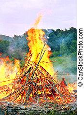 Bonfire - very big burning bonfire in the Carpathian...
