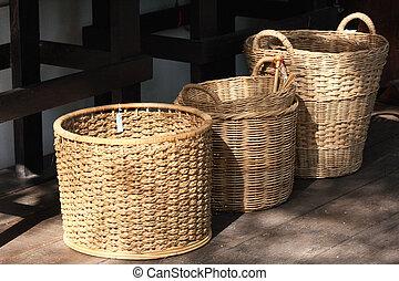de madera, cestas,