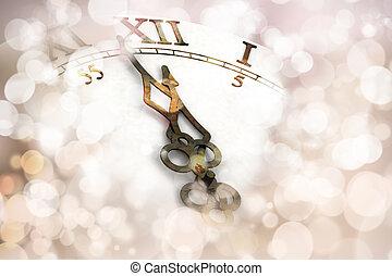 nowy, rok, zegar, tło,