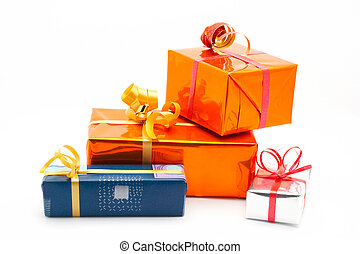 Four gift boxes. White background - Four gift boxes on white...