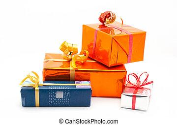 Four gift boxes. White background - Four gift boxes on white...