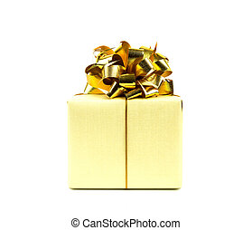 Gold gift box with ribbon on white background