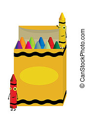 Crayons characters on box - Crayons characters standing near...