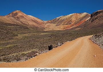 Gravel Road in the Atacama - Orange coloured gravel road...