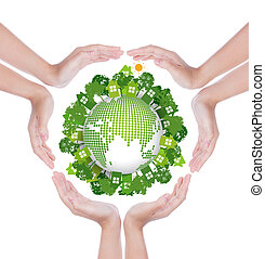 Woman hands hold eco friendly earth