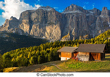 Alpin hut at Passo Pordoi with Sella Group, Dolomites,...