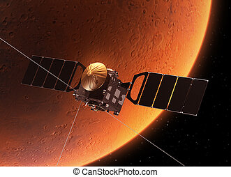 Spacecraft Orbiting Planet Mars - Spacecraft Orbiting Planet...