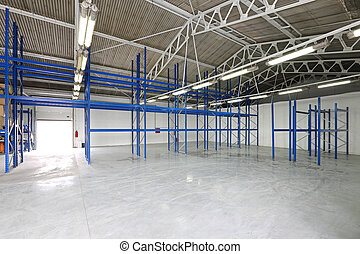 Empty storage room - Empty shelves in storage room warehouse