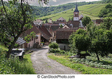 Small rural village in Alsace, France