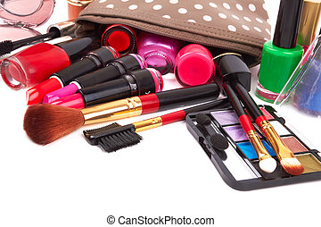 cosmetics - Make up bag with cosmetics and brushes isolated...