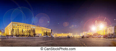 night Lenin Square in Stavropol, Russia - Great night Lenin...