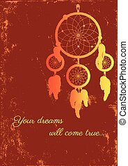 fire dream catcher - image of dream catcher on grungy...