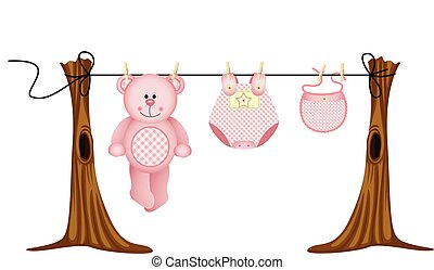 Baby girls clothing - Scalable vectorial image representing...