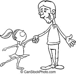 father and daughter coloring page - Black and White Cartoon...