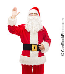man in costume of santa claus - christmas, holidays, gesture...