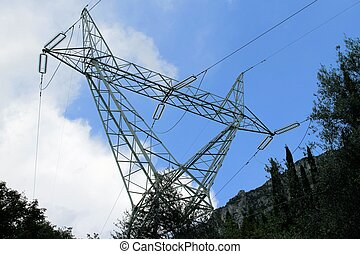 pylons - a high-voltage pylons for electricity on the...