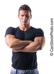 Muscled Man Crossing Arms with Serious Face - Confident...