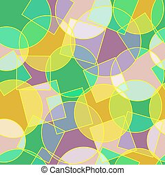Stained glass circles and squares abstract seamless pattern...