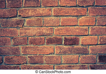 Weathered red brick wall background