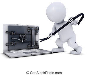 3D Morph Man breaking into a laptop - 3D Render of Morph Man...