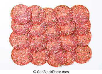 Green pepper salami - Thinly sliced salami sausage flavoured...