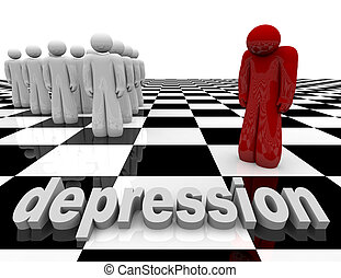 Depression - One Person Stands Alone - One figure stands...