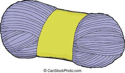 Yarn Cartoon - Hand drawn blue bundle of yarn cartoon