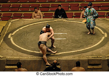 Wrestlers in the Grand Sumo Tournament in Tokyo - TOKYO -...