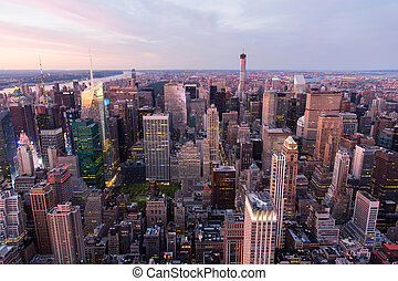 new york city Manhattan at sunset