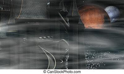 Dark Mysterious Castle - Dark mysterious castle at sea...