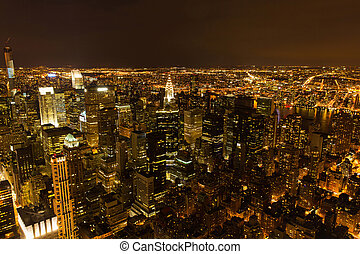 cidade,  York,  Manhattan, Novo, noturna