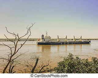 Commercial Ship Crossing the Parana River - Nice side view...