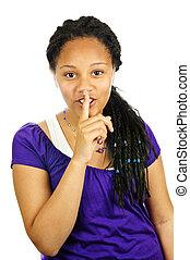 Teenage girl - Isolated portrait of black teenage girl...