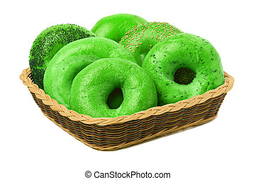 Six Green Bagels in a Basket - A variety of six green bagels...
