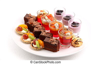 mini desserts on white - A assorted Mini cake delicious and...