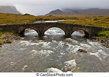 Bridge on Sligachan with Cuillins Hills to the fund. Isle of...