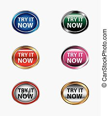 Try it now button icon vector set