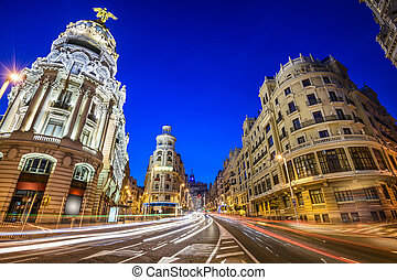Madrid, Spain Gran Via Cityscape - Madrid, Spain cityscape...