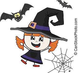 witch costume - little girl with witch costume isolated on...