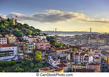 Lisbon, Portugal Skyline and Castle - Lisbon, Portugal...