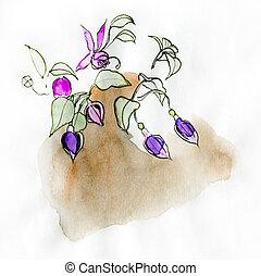 Fuchsia, original watercolor sketch on white.