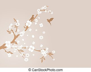 cherry blossom silhouette - vector illustration of cherry...