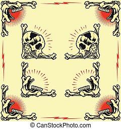 Skull Frames - Skull and Rose Frames in old school tattoo...