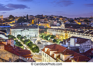 Rossio Square of Lisbon - Lisbon, Portugal skyline view over...