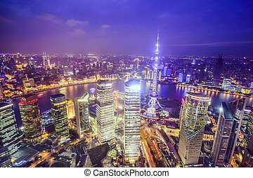 Shanghai, China City Skyline view over the Pudong Financial...