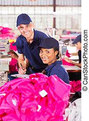 textil, fábrica, trabajador, y, calidad, controlador,...