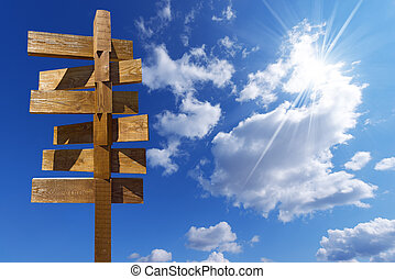 Wooden Sign on Blue Sky with Clouds - Wooden old brown...