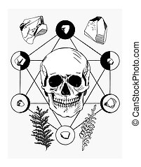 Vector illustration with skull and ritual things, black...