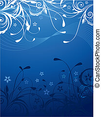 Blue Floral Background - A blue natural background with...